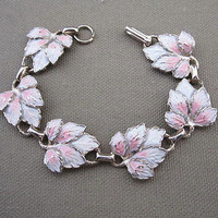 Vintage Pink And White Enamel Leaf Linked Bracelet