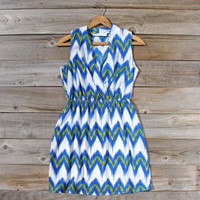 Ikat Sky Dress, Sweet Women&#x27;s Bohemian Dresses