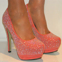 LADIES CORAL RHINESTONE PLATFORM SHOE STILETTO HEELS PROM EVENING SIZES 3-8