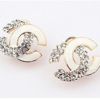 Angel Stars Gold Plated Australian Crystals and White Enamel Double Cc C Stud Earrings ~~HOT~~