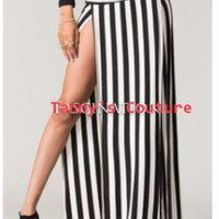 Double Slit Striped Maxi Skirt   Tanny&#x27;s Couture LLC