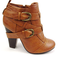 PLASTICLAND - Urban Jungle Multi-Strap Tan Ankle Boots