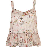 Pink floral print frill crop top - sleeveless tops - tops - women