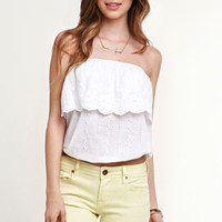 Black Poppy Eyelet Ruffle Tube Top at PacSun.com