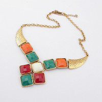 Gold ResinStatement fashion bubble necklace,multi color