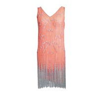 1920s Silver Fringe Beaded Flapper Dress