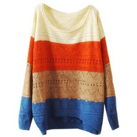 LookbookStore Women Bold Striped Colorway Cut Cutout Crochet Knit Knitwear Jumper Sweater Top