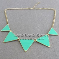 Neon Candy Color 5 Triangle Pyramid Spike Gold-tone Metal Lobster Clasp Necklace, Green