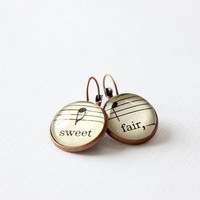 Sheet music earrings handmade with vintage sheet music under glass.  Lever back copper settings.  sweet and fair