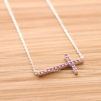 girlsluv.it - SIDEWAYS CROSS necklace with pink crystals