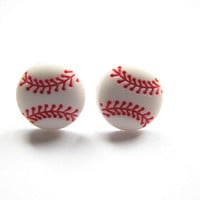 Baseball Stud Earrings, Baseball Sport Jewelry