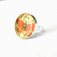 Spring Butterfly Ring, Orange Cocktail Ring, Resin Ring, Adjustable Ring, Silver Ring, Butterfly Jewelry