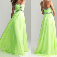 fashion green party dress, girls party dress, cheap prom dresses, chiffon bridesmaid dress, RE076
