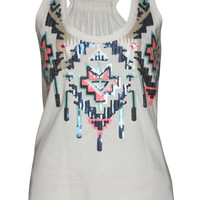 Sophie Aztec Sequin Necklace Jersey Vest