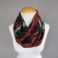 Tribal Infinity Scarf - Wild Print Circle Scarf - Black, Pink, and Orange Scarf - Tribal Print Accessory