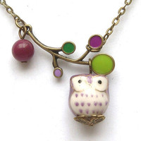 Antiqued Brass Leaf Purple  Jade Porcelain Owl by gemandmetal