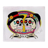Los Novios Sugar Skull Throw Blanket by LosNovios