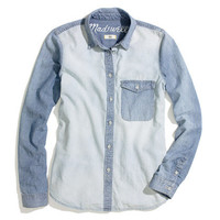 Two-Tone Chambray Shirt - chambray & denim - Women's SHIRTS & TOPS - Madewell
