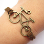 Bike bracelet---antique bronze 3d love bike &amp; brown wax rope chain