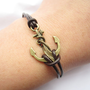 Anchor Bracelet---antique bronze unique little anchor&amp;brown leather chain