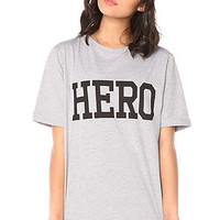 Glamorous Tee Hero Ladies Slogan in Grey