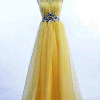 Real Sample Yellow Evening Gowns Dresses by dressofshop on Etsy