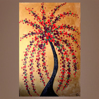 Red Tree Painting Textured Original by DistinctiveModernArt