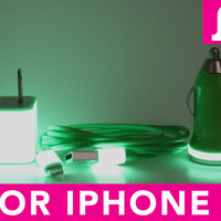 3in1 Glow in the Dark Green iPhone 5 Charger - iPad Mini Charger - iPod Charger