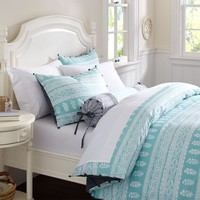 Serena Blockprint Stripe Duvet Cover + Sham