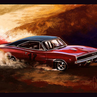 Automotive Art Muscle Car 1968 Charger 16x24 Metallic Print