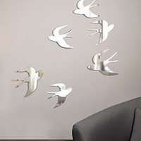 PLASTICLAND - Flying Sparrow Wall Mirrors - Set of 6