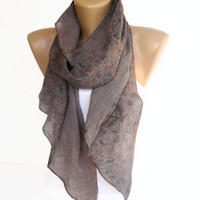 taupe brown women scarf , fashion accessory , long scarves , floral print scarf
