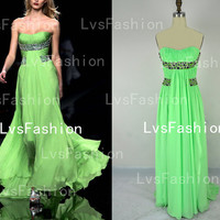 Strapless Sweetheart with Beading Chiffon Prom Dresses Bridesmaid Dress Party Dress, evening gown, evening dresses