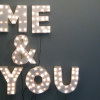 Handmade &quot;Me &amp; You&quot; Marquee Wall Light