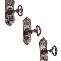 PLASTICLAND - Cast Iron Key in Lock Hook Wall Hooks - Set of 3