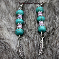 Silver Feather Earrings - Turquoise Earrings - Cebu Shell Earrings - Native American Inspired - Gift For Her - Gift Under 20