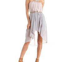 Color Block Chiffon Tube Dress: Charlotte Russe