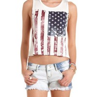 Distressed American Flag Muscle Tee: Charlotte Russe