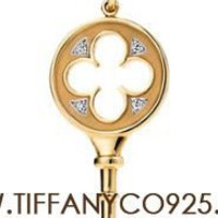 Shopping Cheap Tiffany Keys Quatrefoil Key Pendant Necklace with Diamond At Tiffanyco925.com - Discount Tiffany Necklaces