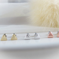triangle earrings CHOOSE ONE small tiny gold / by applelatte