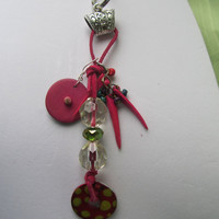 Keychain Hot Pink Beaded with Wood and Acrylic Beads