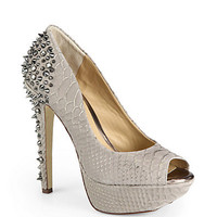BLACK Saks Fifth Avenue - Hayden Crocodile-Embossed Leather Peep-Toe Platform Pumps