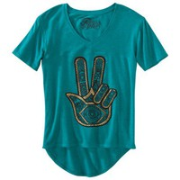 Juniors Peace Henna Graphic Tee - Jade