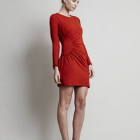 Blaze Dress - Long Sleeve Red Jersey Mini with Round Neck and Circular Gathers on One Side - Super flattering