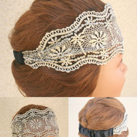 Lace Headband Brown Floral Turban Fashion Hair Accessory - By PiYOYO