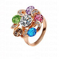 Multicolor Garland Swarovski Crystal Gilded Ring - Swarovski Rings - Rings - Jewelry