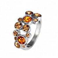 Orange Round Swarovski Crystal White Gold Plated Ring - Swarovski Rings - Rings - Jewelry