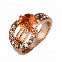 Orange Round Swarovski Crystal Ring With Diamond - Swarovski Rings - Rings - Jewelry