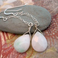 Pink and Green Candy Jade Sterling Silver Earrings