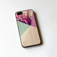Floral Geometric on Wood  iPhone Case   iPhone 5 Case  by IdeaCase